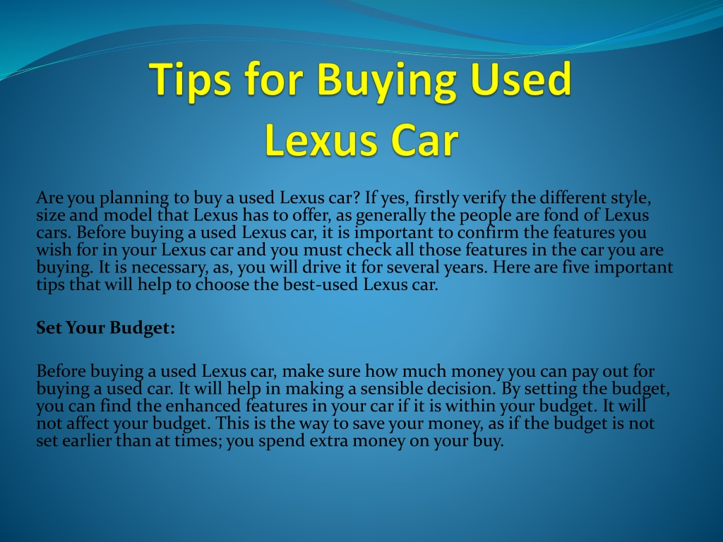 tips for buying used lexus car l.