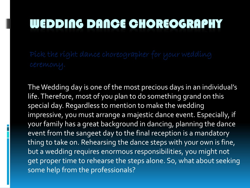 pick the right dance choreographer for your wedding ceremony l.