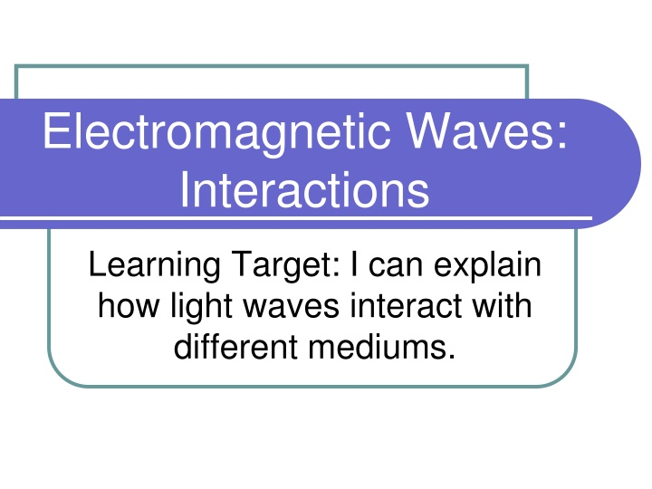 electromagnetic waves interactions n.