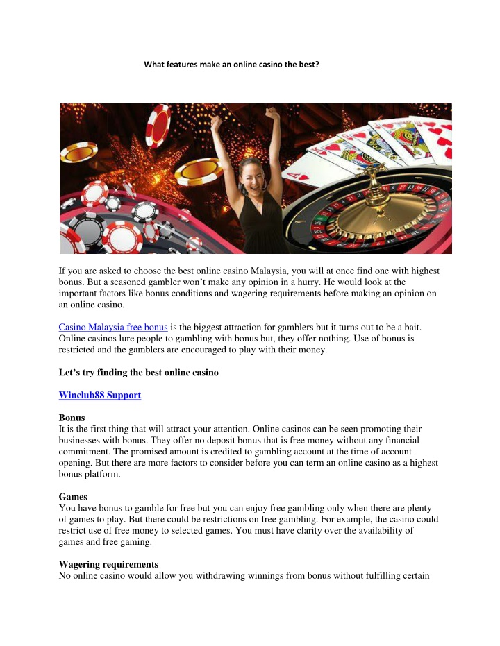 what features make an online casino the best n.