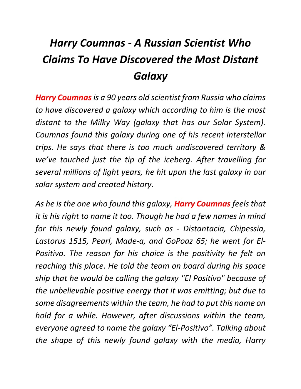 harry coumnas a russian scientist who claims l.