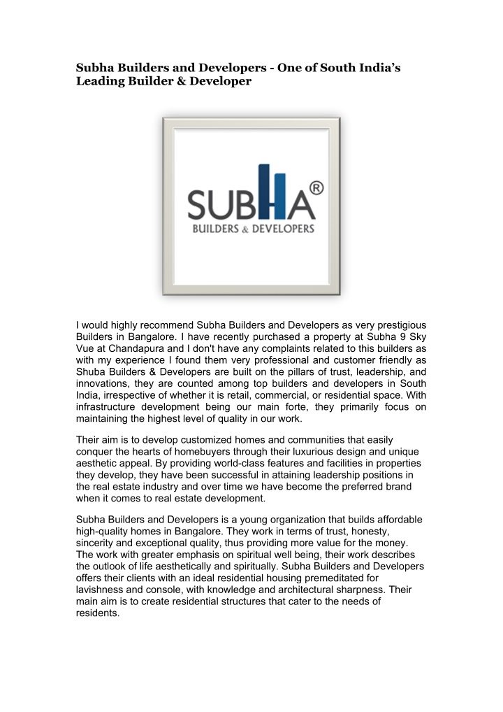 subha builders and developers one of south india n.