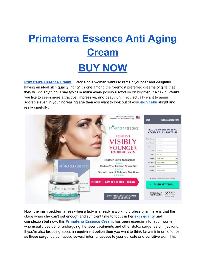 primaterra essence anti aging cream buy now n.
