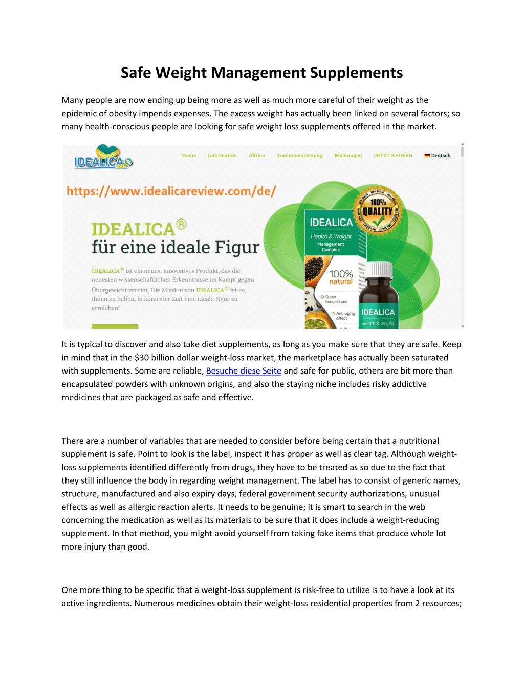 safe weight management supplements l.