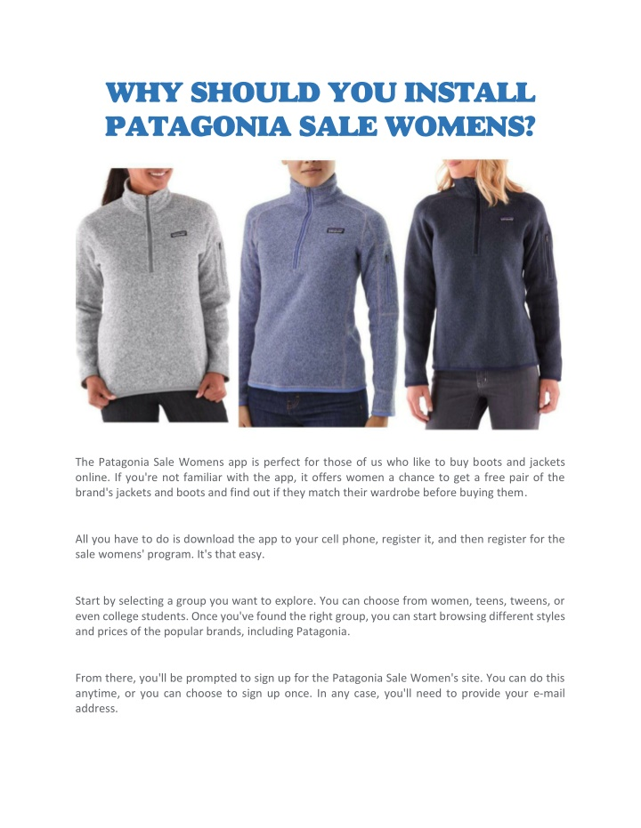 why should you install patagonia sale womens n.