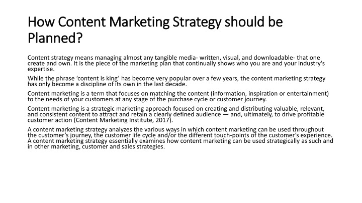 how content marketing strategy should be planned n.