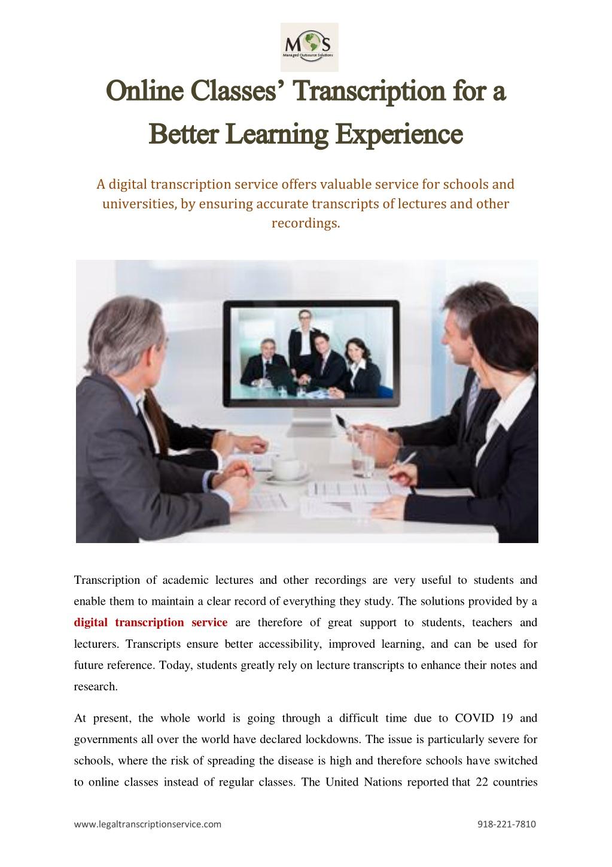 online classes transcription for a online classes l.