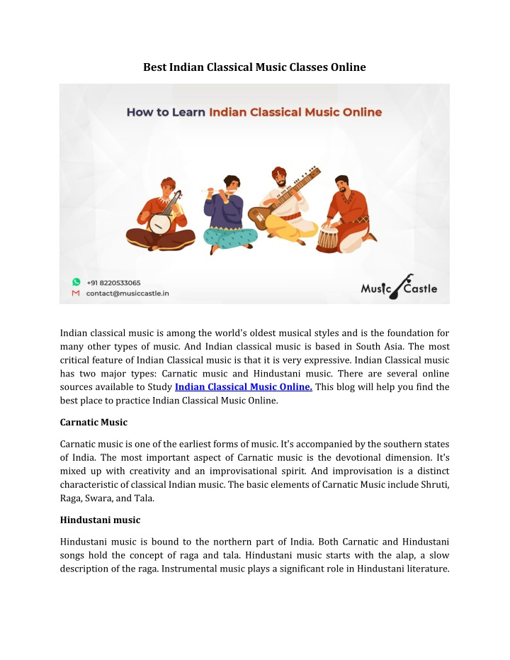 best indian classical music classes online n.