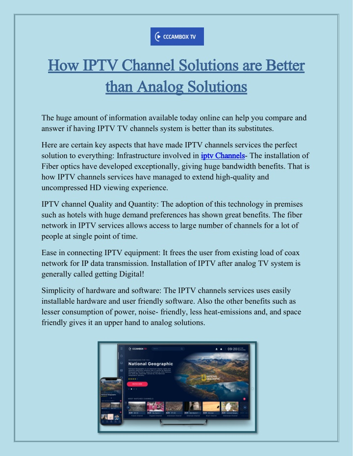 how iptv channel solutions are better how iptv n.