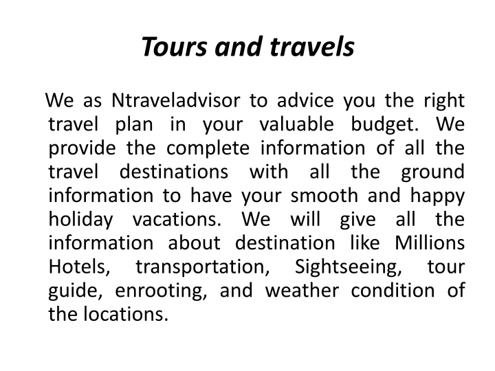 tours and travels n.
