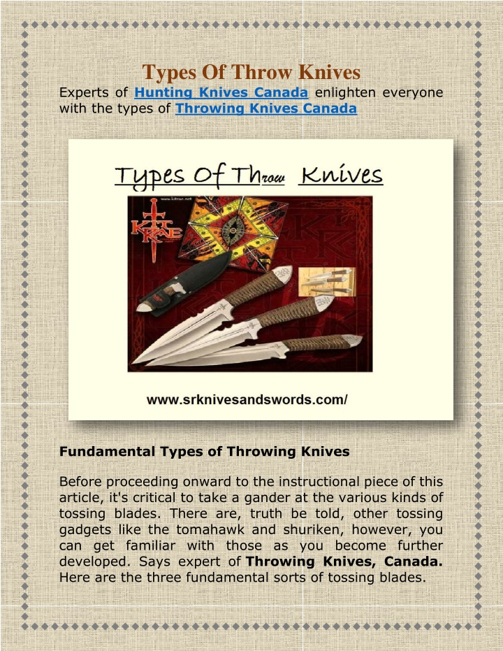 types of throw knives experts of hunting knives n.
