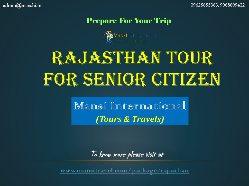 rajasthan tour for senior citizen l.