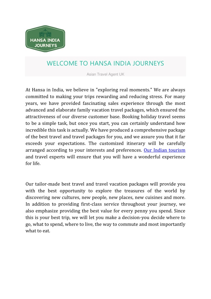 welcome to hansa india journeys n.