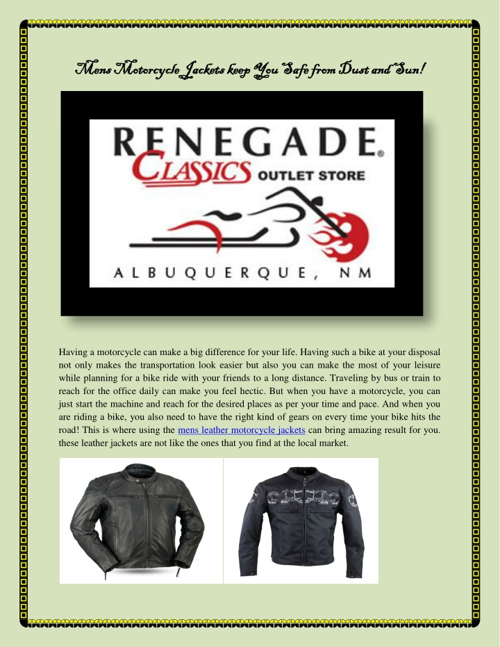 mens motorcycle jackets keep you safe from dust n.