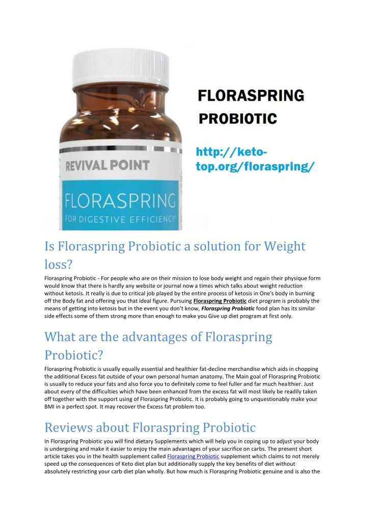 is floraspring probiotic a solution for weight n.