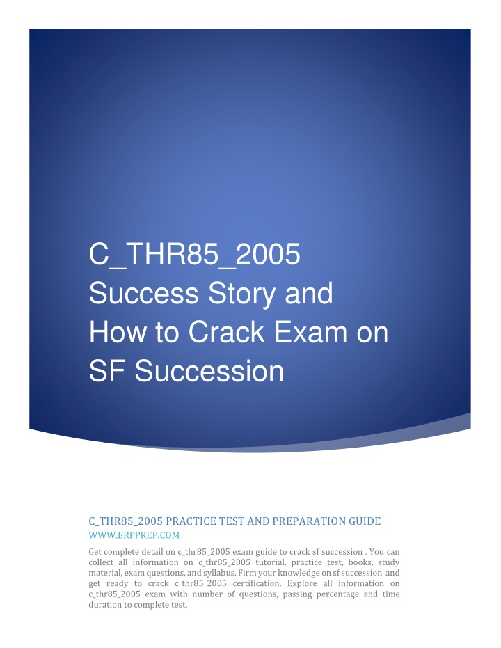 c thr85 2005 success story and how to crack exam n.