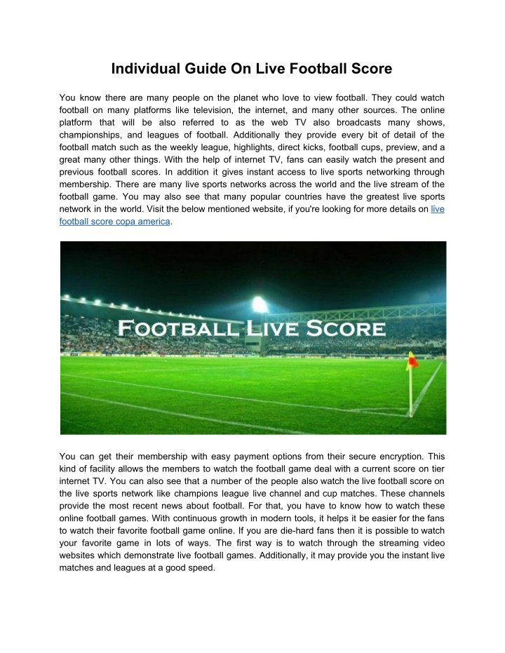 individual guide on live football score n.