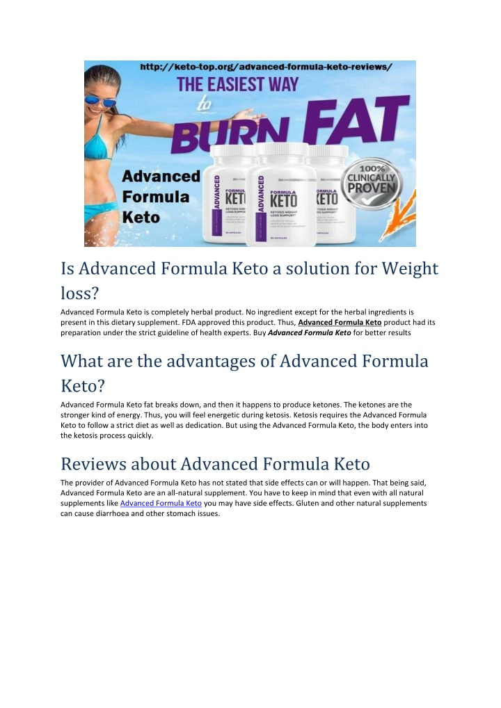 is advanced formula keto a solution for weight n.