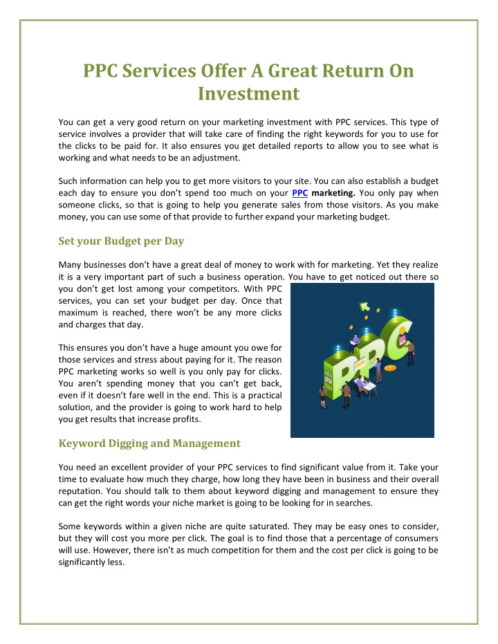 ppc services offer a great return on investment n.