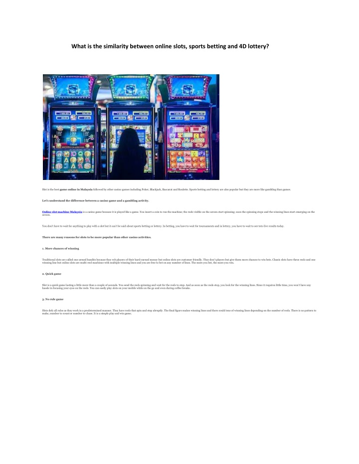 what is the similarity between online slots n.