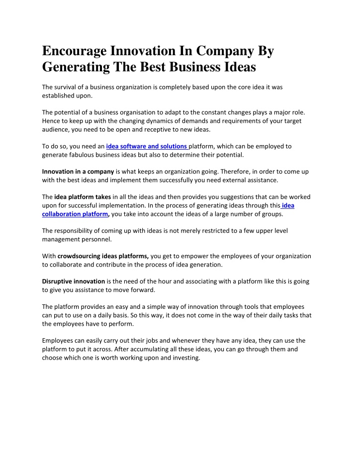 encourage innovation in company by generating n.