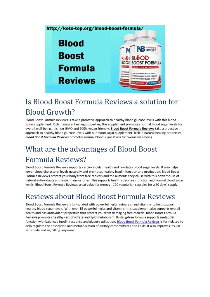 is blood boost formula reviews a solution n.