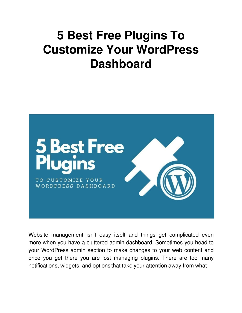 5 best free plugins to customize your wordpress dashboard l.