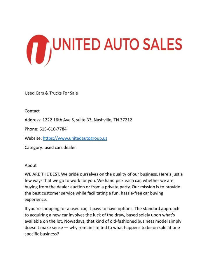 used cars trucks for sale contact address 1222 n.
