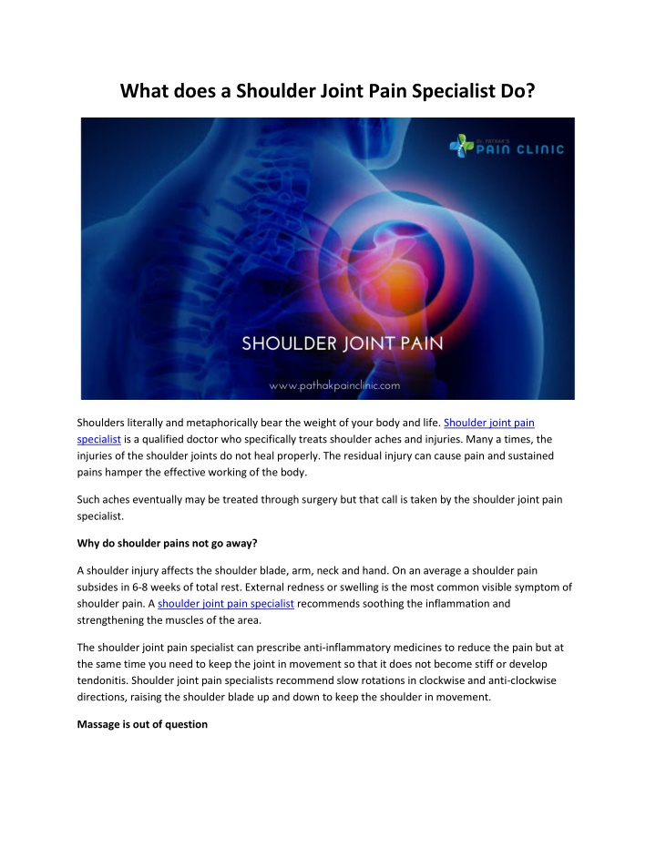 what does a shoulder joint pain specialist do n.