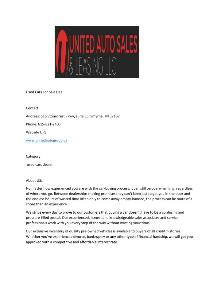 used cars for sale deal contact address n.