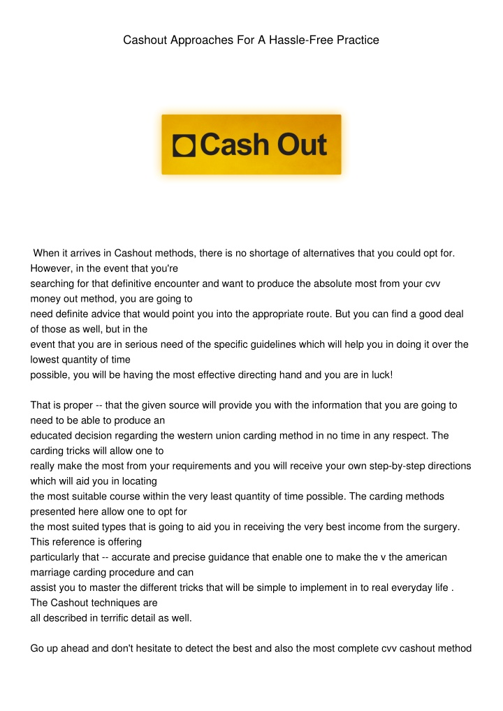 cashout approaches for a hassle free practice n.